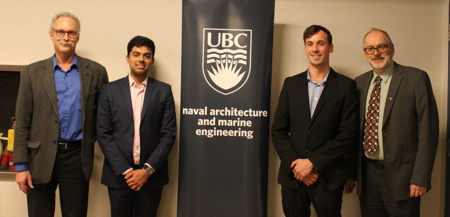 UBC MEL in Naval Architecture & Marine Engineering Advisory Committee_Graduates Rohan Madethatt and Connor Maloney with Program Directors Dr. Chris McKesson and Jon Mikkel